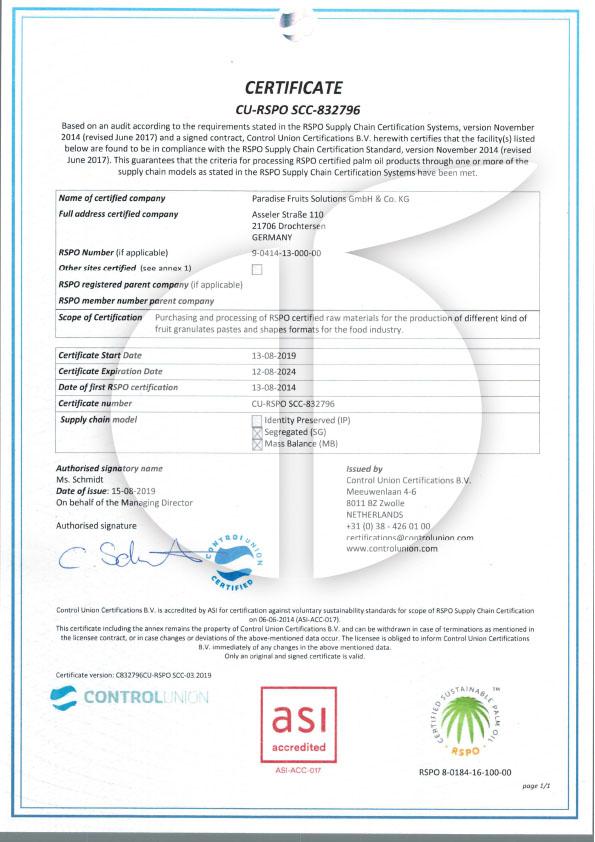 RSPO Zertifikat SCC 03.2019 C832796CU